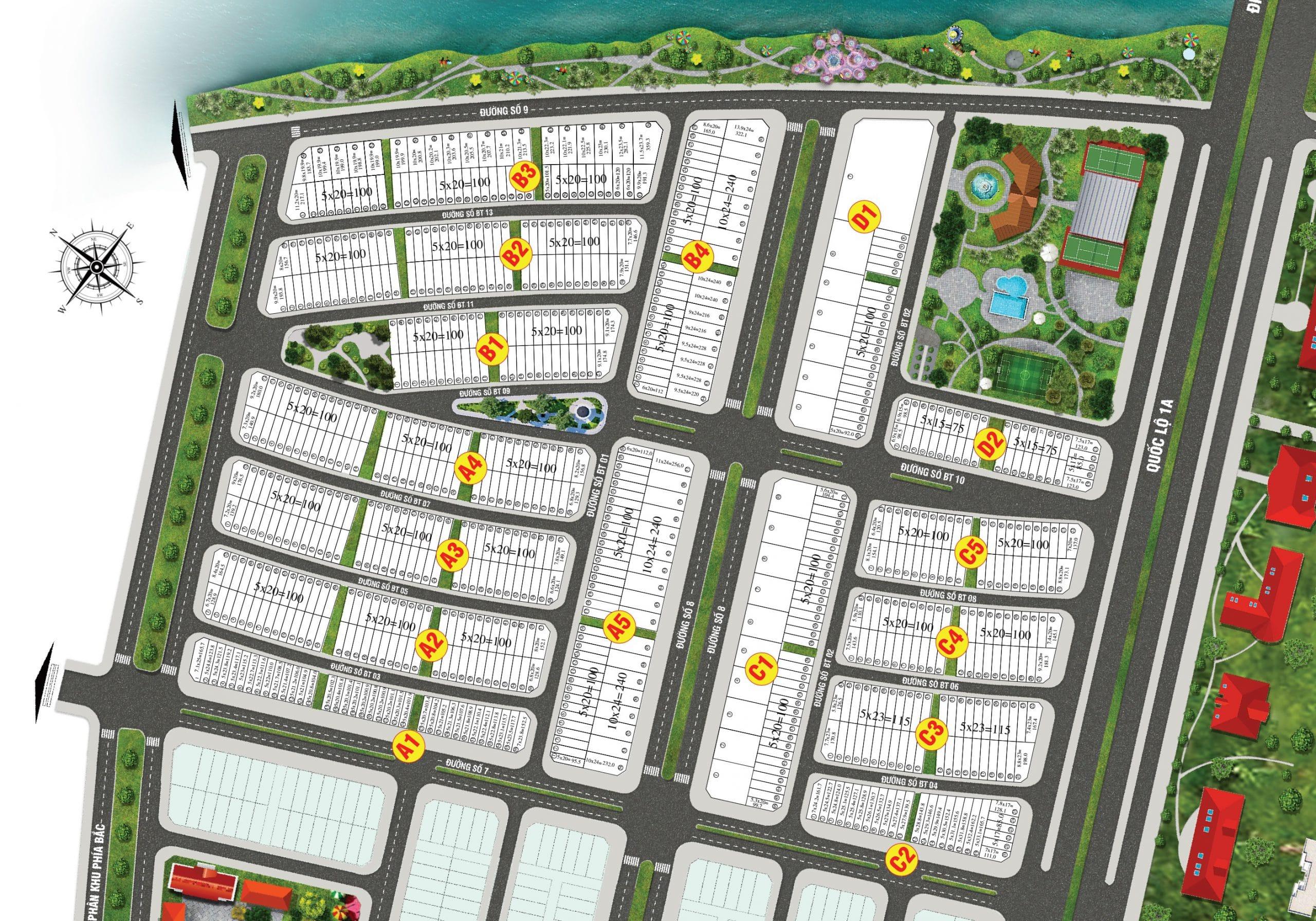Mặt bằng phân lô của Dự án Biệt thự Lavilla Green City Tân An